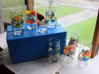 Complete set of the 1982 Peyo Smurf Glasses from