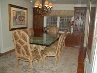 Beautiful set of 8 custom upholstered dining room