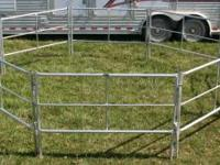 Set of 8 4ft tall x 6ft long travel corral panels made