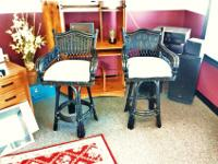 Very Nice Black Tropical Breeze Rattan Style Set of two