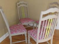 Four wooden dining chairs painted Stone Hearth. Two