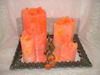 Description These 4 beautiful candles are hand crafted