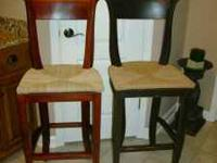 SET OF MAHOGANY WOOD BARSTOOLS....WICKER SEATS....SEATS