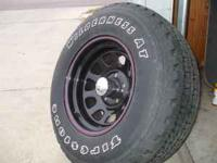 Set of 4 new tires and wheels. Tires are Firestone