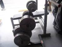 I HAVE A SET OF OLYMPIC WEIGHTS, ALONG WITH THE RACK ON