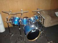 Newer set of Pearl Drums for sale. Many extras