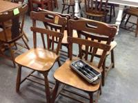 Set of strong wood chairs. 4 chairs. From the 1940's.