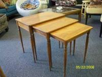 Set of three solid maple nesting end tables. Signed