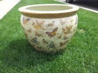 Description: Asian Antique Flowerpot With Hand Printed