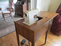 Strong wooden sewing machine table with Singer sewing
