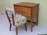 MAPLE SEWING MACHINE TABLE WITH STORAGE CHAIR. VERY