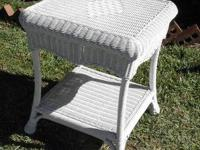OVELY WHITE WICKER TABLE PERFECT FOR AN ACCENT OR END