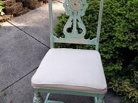 Shabby distressed accent chair. Finished with chalk
