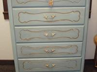 Shabby chic French Provincial chest of drawers - blue -