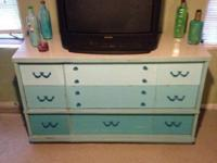 Long dresser is 3 tones of turquoise 3 sm. drawers 3