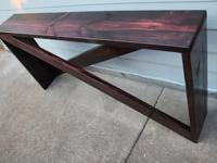 Custom built solid spruce five board console table (6ft