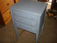 REFURBISHED DONE SHABBY CHIC STYLE ANTIQUE BLUE & THEN