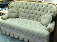 Vintage tufted shabby chic loveseat and matching
