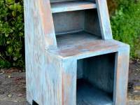 Cute shabby chic side table. Stained blue & distressed