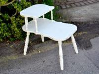 Great side table painted off white & distressed for a