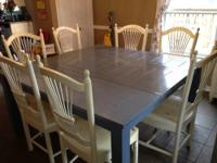 FOR SALE IS A SHABBY CHIC DINING TABLE THAT SEATS UP TO