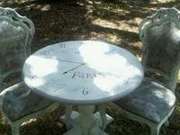 Handpainted Shabby chic table for two....solid wood