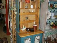 GREAT SHABBY CHIC TEAL CABINET, OPEN STORAGE ON TOP AND
