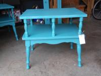 I have 2 of the cutest shabby chic teal end tables for