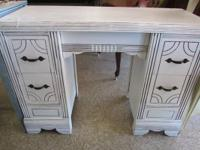 Solid wood White shabby chic Vanity / Desk. This desk