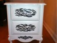 Shabby Chic zebra night stands. Very cute. They are 2