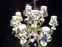 Painted Tole Floral Chandelier Embroidered Tulle Shades