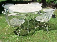 Shabby Vintage 5-pc white wrought iron patio set. Set