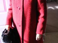 Shagmoor beautiful red Wool Coat with Beaver Fur Collar