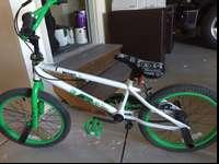 Shaun White green, black and white bike. Our son has