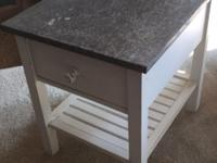 Sheet Metal Table Top Side Table with Drawer and Slat