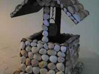 "Wishing well covered in sea shells. 14"" tall phone"