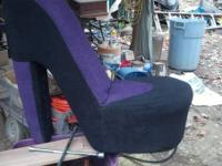 Purple and black high heel shoe chair, awesome for