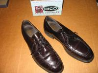 Rico brand steel toe security dress shoes. Dark oxblood