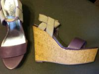 Purple wedges size 7 - new $20 White heels with pink