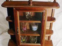 shot glass display case wooden footed or