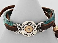 Super cute!! Leather shotgun shell bracelet. Brand