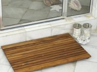 Shower Wood Floor Mat  Square African Teak Wood Mat.