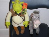 One Shrek2 stuffed doll and one Donkey stuffed doll.