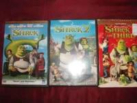 Shrek Dvd Movies 1,2,3 asking 12.00 bucks thats $4