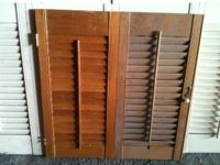 FOR SALE ARE THREE SEPARATE SETS OF WOOD SHUTTERS IN