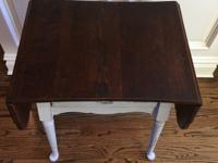 Side Table.  Top is stained, bottom is distressed gray.