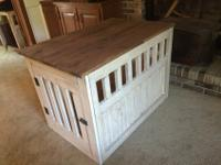 Custom, handmade side table dog kennels. They were