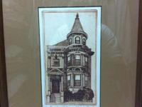two signed sepia-toned Victorian house prints by artist