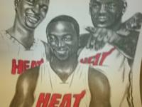 SIGNED ROBERT STEPHEN SIMON LITHOGRAPH MIAMI HEAT'S