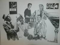 "SIGNED ROBERT STEPHEN SIMON LITHOGRAPH ""THE RAT PACK"" -"